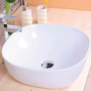 Lavabo da appoggio / per mobili quadrato PALERMO BIANCO 45,2x45,2 in ceramica L 42.5 x P 12.1 x H 15 cm bianco