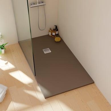 Piatto doccia resina sintetica e polvere di marmo Strato 70 x 90 cm cacao