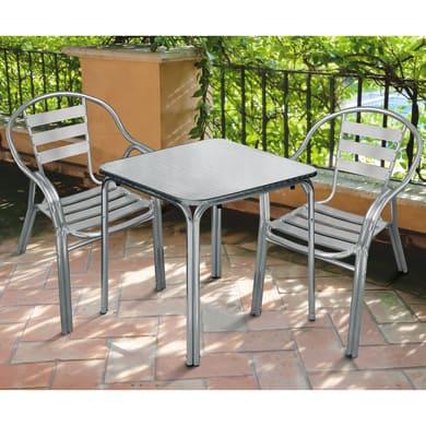 Set tavolo e sedie Contract in alluminio grigio / argento 2 posti
