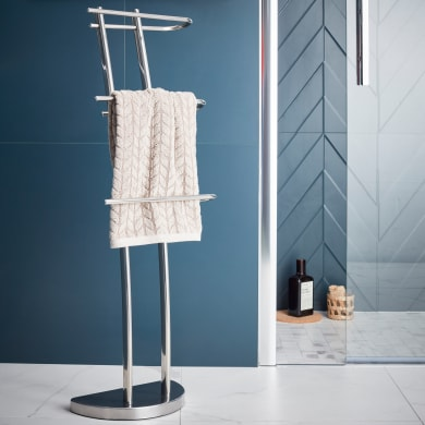 Piantana porta asciugamani in inox lucido cromo