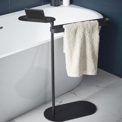 Piantana porta asciugamani Neo in acciaio resina epossidica nero