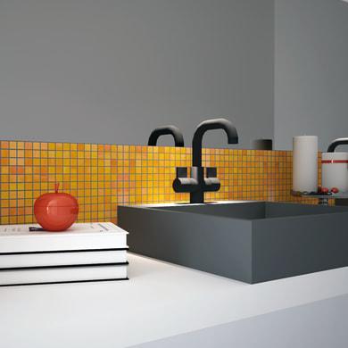Mosaico Gerbera20 H 31.8 x L 31.8 cm arancione