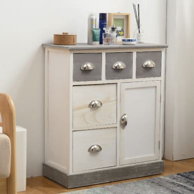Credenza L 60 x P 30 x H 70 cm bianco, grigio