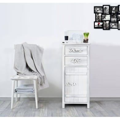 Mobile L 37 x P 30 x H 84 cm bianco shabby