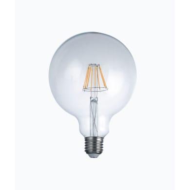 Lampadina LED filamento, E27, Globo, Trasparente, Luce calda, 8W=1055LM (equiv 80 W), 300°