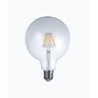 Lampadina LED filamento, E27, Globo, Trasparente, Luce calda, 8W=1055LM (equiv 82 W), 300°