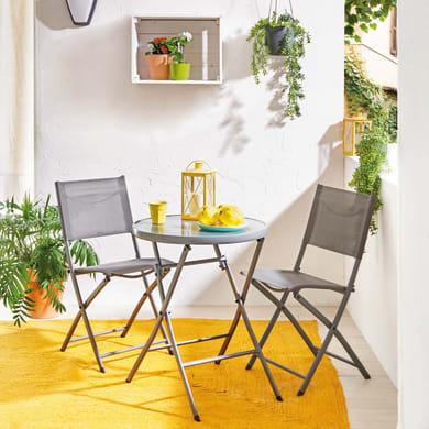Set tavolo e sedie NATERIAL Emys in acciaio grigio / argento 2 posti
