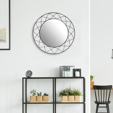 Specchio a parete quadrato Jennifer nero 50x50 cm