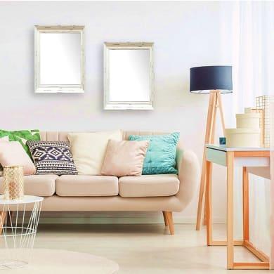 Specchio a parete rettangolare Provenza bianco 50x70 cm