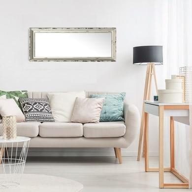 Specchio a parete rettangolare Provenza bianco 40x120 cm