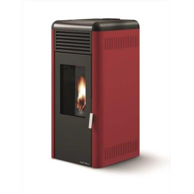 Stufa a pellet ventilata Antonio 9.2 kW rosso bordeaux