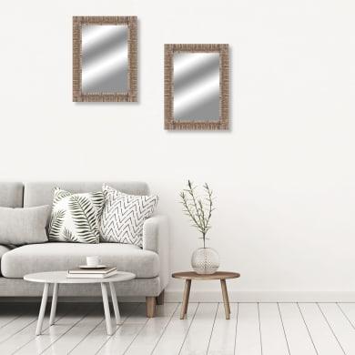 Specchio a parete rettangolare Sughero naturale 88x118 cm
