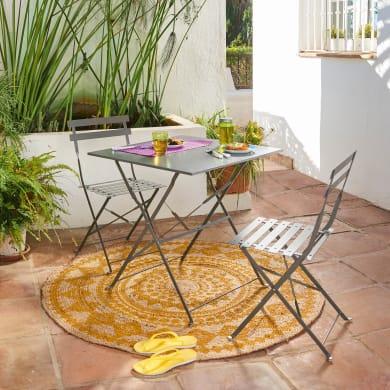 Set tavolo e sedie NATERIAL Flora Origami in acciaio grigio / argento 2 posti