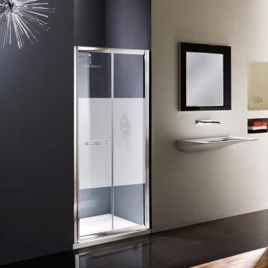 Box doccia angolare con porta pieghevole e lato fisso rettangolare Namara 90 x 80 cm, H 195 cm in vetro temprato, spessore 8 mm serigrafato argento