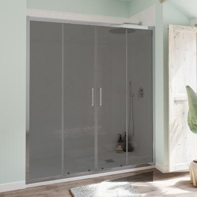 Porta doccia scorrevole Bilbao 166 cm, H 190 cm in vetro temperato, spessore 6 mm fumé cromato
