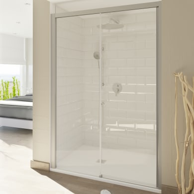 Porta doccia scorrevole Style 110 cm, H 200 cm in vetro temperato, spessore 8 mm trasparente satinato