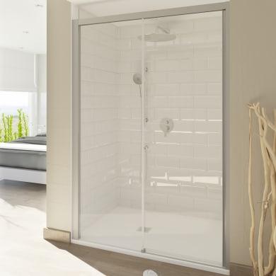 Porta doccia scorrevole Style 130 cm, H 200 cm in vetro temperato, spessore 8 mm trasparente satinato