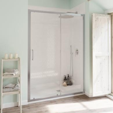 Porta doccia scorrevole Bilbao 110 cm, H 190 cm in vetro temperato, spessore 6 mm trasparente cromato