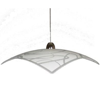 Lampadario Design Anelli Q. bianco in vetro, 2 luci