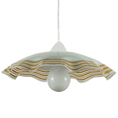 Lampadario Design Ondina bianco/ocra in vetro, 3 luci