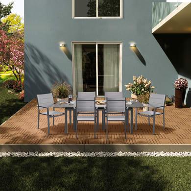 Set tavolo e sedie Odyssea in alluminio marrone 6 posti
