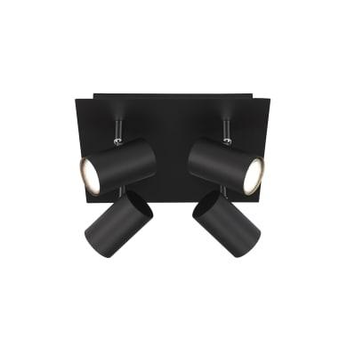 Faretto Run nero, in metallo, GU10 4xIP20