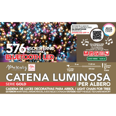 Catena luminosa 576 lampadine multicolore Led 1450 cm