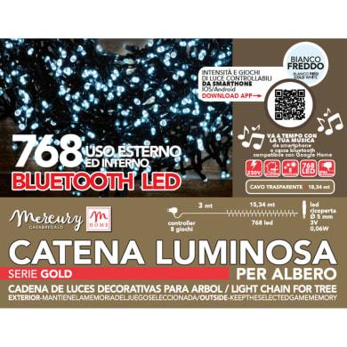 Catena luminosa 768 lampadine bianco caldo Led 1834 cm