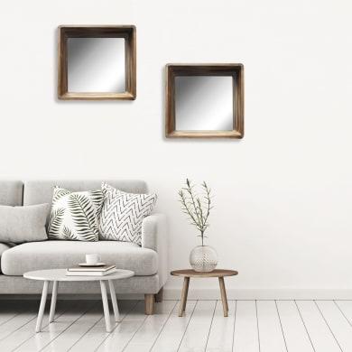 Specchio a parete quadrato Kate ciliegio 50x50 cm