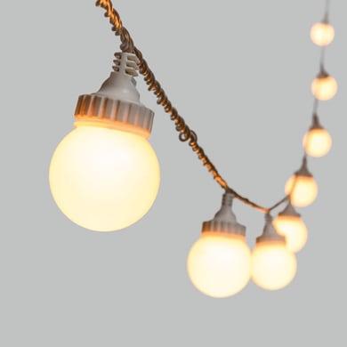Catena luminosa 10 lampadine LED bianco caldo 5 m