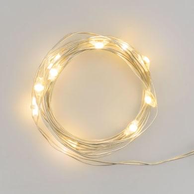 Catena luminosa 20 lampadine LED bianco caldo Micro 2 m