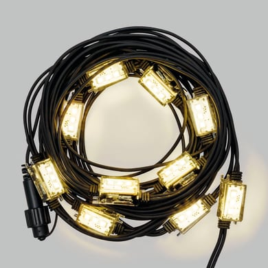 Catena luminosa 10 lampadine LED bianco caldo Strobo 100 cm