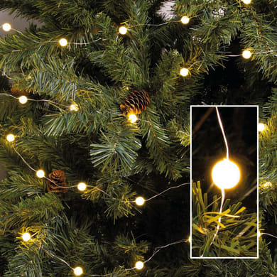 Catena luminosa 100 lampadine LED bianco caldo 100 cm