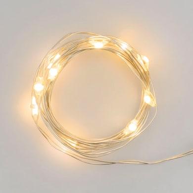 Catena luminosa 10 lampadine LED bianco caldo 1 m