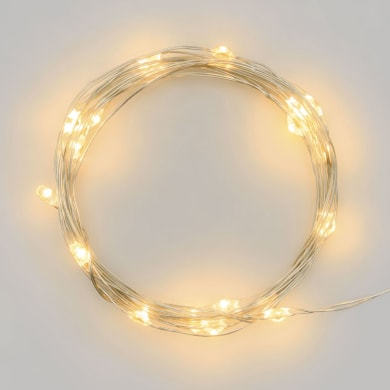 Catena luminosa 100 lampadine LED bianco caldo Micro 100 cm