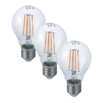 Lampadina LED filamento, E27, Goccia, Trasparente, Luce fredda, 8W=1055LM (equiv 80 W), 300°