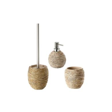 Set di accessori per bagno Idra beige in resina , 3 pezzi