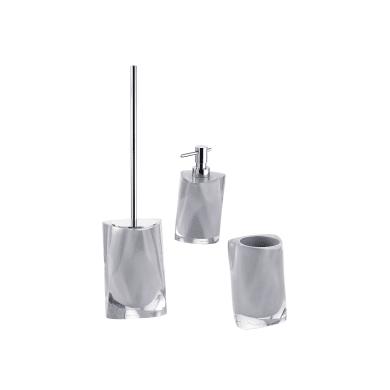 Set di accessori per bagno Twist argento in resina , 3 pezzi