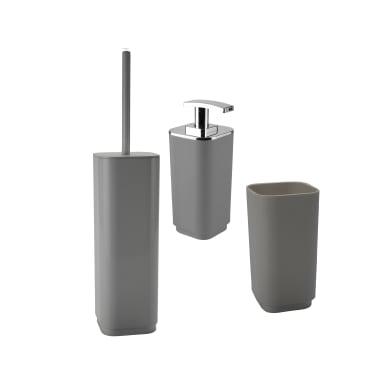 Set di accessori per bagno Seventy grigio in plastica , 3 pezzi
