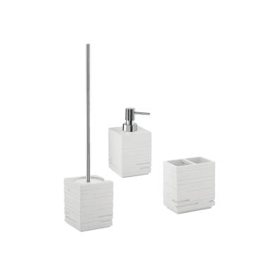 Set di accessori per bagno Quadrotto bianco in resina , 3 pezzi