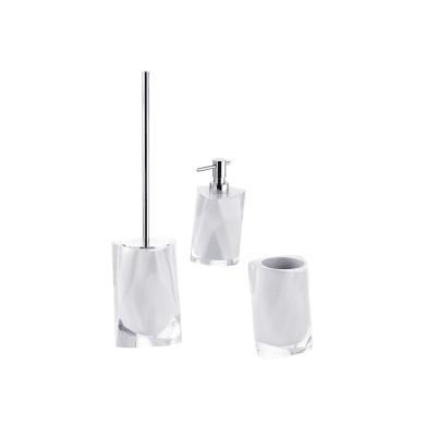Set di accessori per bagno Twist bianco in resina , 3 pezzi