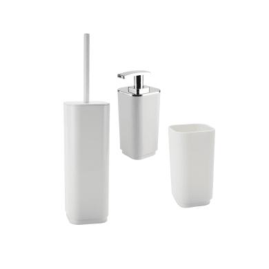 Set di accessori per bagno Seventy bianco in plastica , 3 pezzi