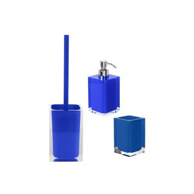 Set di accessori per bagno Rainbow blu in resina , 3 pezzi