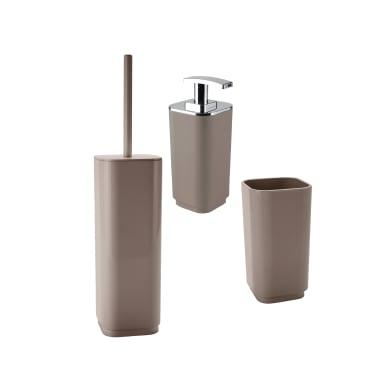 Set di accessori per bagno Seventy tortora in plastica , 3 pezzi