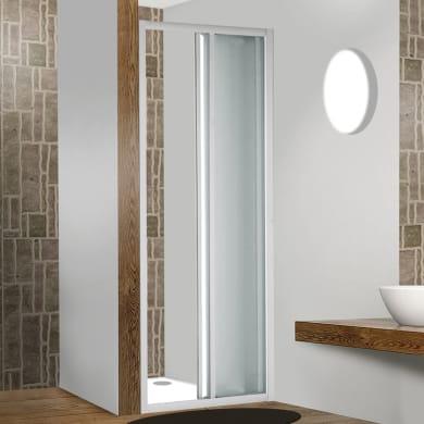 Porta doccia pieghevole Plumin 70 cm, H 185 cm in vetro temprato, spessore 3 mm piumato bianco