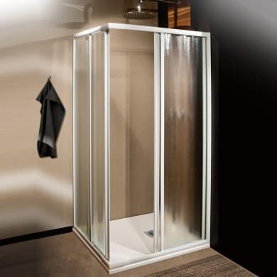 Box doccia quadrato 2 ante fisse + 2 ante scorrevoli Plumin 70 x 70 cm, H 185 cm in vetro temprato, spessore 3 mm acrilico piumato bianco