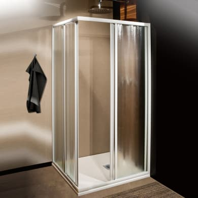 Box doccia rettangolare scorrevole Plumin 70 x 80 cm, H 185 cm in vetro temprato, spessore 3 mm acrilico piumato bianco