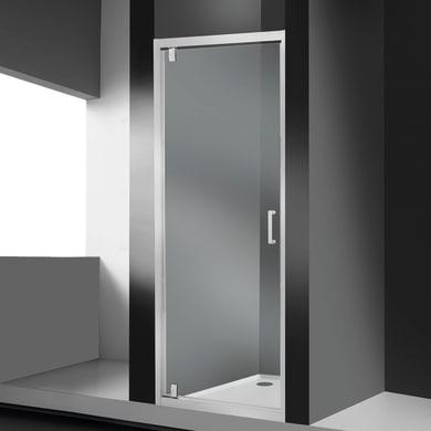 Porta doccia battente Sinque 80 cm, H 190 cm in vetro temprato, spessore 5 mm trasparente bianco