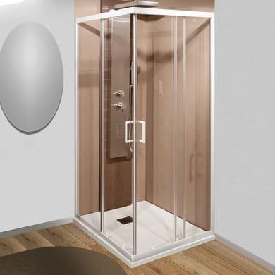 Box doccia rettangolare 2 ante fisse + 2 ante scorrevoli Sinque 70 x 80 cm, H 190 cm in vetro temprato, spessore 5 mm trasparente bianco
