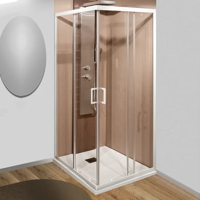 Box doccia rettangolare 2 ante fisse + 2 ante scorrevoli Sinque 70 x 90 cm, H 190 cm in vetro temprato, spessore 5 mm trasparente bianco
